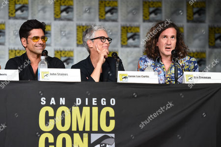 """John Stamos, from left, Jamie Lee Curtis and Ian Brennan attend the """"Scream Queens"""" panel on Day 2 of Comic-Con International, in San Diego"""