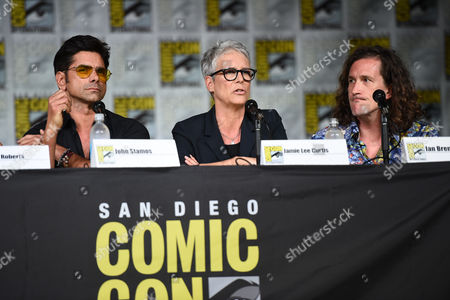"""John Stamos, from left Jamie Lee Curtis, and Ian Brennan attend the """"Scream Queens"""" panel on Day 2 of International Comic Con on in San Diego"""