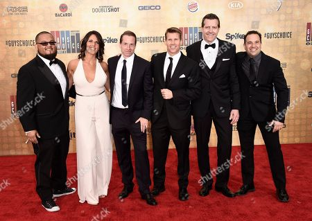 Stock Image of Manny Rodriguez, from left, Dana Jacobson, Sean Grande, Scott Hanson, Michael C. Williams, and George X arrive at the Guys Choice Awards at Sony Pictures Studios, in Culver City, Calif