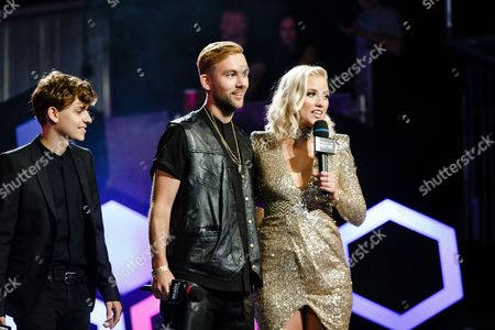 Scott Helman, SonReal and Liz Trinnear seen at the 2016 iHeartRadio MuchMusic Video Awards, in Toronto, Canada