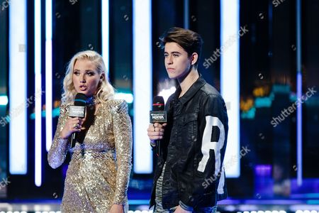 Liz Trinnear and Nash Grier seen at the 2016 iHeartRadio MuchMusic Video Awards, in Toronto, Canada