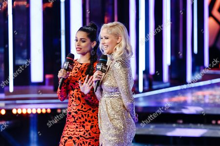 Lilly Singh and Liz Trinnear seen at the 2016 iHeartRadio MuchMusic Video Awards, in Toronto, Canada
