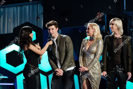 Camila Cabello, Shawn Mendes, Liz Trinnear, and Marianas Trench seen at the 2016 iHeartRadio MuchMusic Video Awards, in Toronto, Canada