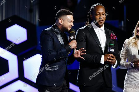 Stock Image of Alx Veliz and Tyrone Edwards seen at the 2016 iHeartRadio MuchMusic Video Awards, in Toronto, Canada