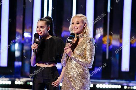 Sofia Carson and Liz Trinnear seen at the 2016 iHeartRadio MuchMusic Video Awards, in Toronto, Canada