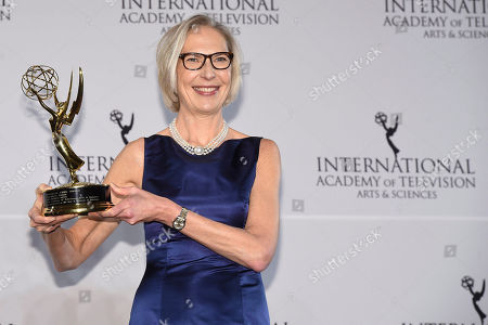 Stock Photo of Maria Rorbye Ronn winner of the Directorate Award appears in the press room for the 44th International Emmy Awards at the New York Hilton, in New York