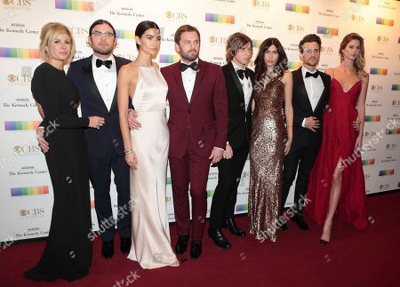 Jessie Baylin, from left, Nathan Followill, Lily Aldridge, Caleb Followill, Matthew Followill, Johanna Bennett, Jared Followill and Martha Patterso attend the 39th Annual Kennedy Center Honors at The John F. Kennedy Center for the Performing Arts, in Washington, D.C