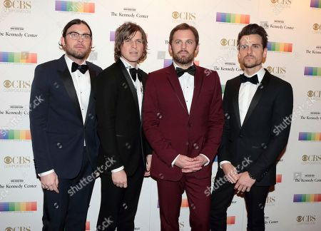 Matthew Followill from left, Caleb Followill, Nathan Followill and Jared Followill of the band The Kings of Leon attend the 39th Annual Kennedy Center Honors at The John F. Kennedy Center for the Performing Arts, in Washington, D.C