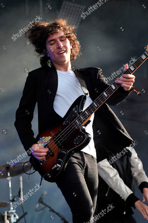 Stock Image of Jordan Lawlor of M83 performs on day 2 at Lollapalooza in Grant Park, in Chicago