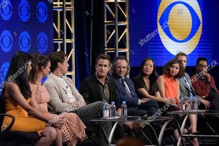 "Retime Shetty, from left, Odette Annable, Augustus Prew, Dermot Mulroney, executive producers Jason Katims and Michelle Lee, Brenda Song, Ward Horton and Aaron Jennings participate in the ""Pure Genius"" panel during the CBS Television Critics Association summer press tour, in Beverly Hills, Calif"