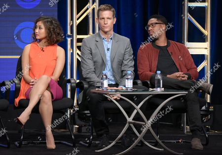 """Brenda Song, from left, Ward Horton and Aaron Jennings participate in the """"Pure Genius"""" panel during the CBS Television Critics Association summer press tour, in Beverly Hills, Calif"""