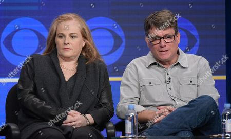 "Stock Image of Executive producers Jackie Filgo, left, and Jeff Filgo participate in the ""Man With A Plan"" panel during the CBS Television Critics Association summer press tour, in Beverly Hills, Calif"
