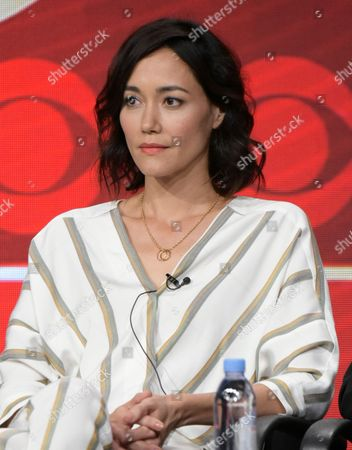 Sandrine Holt participates in the 'MacGyver' panel during the CBS Television Critics Association summer press tour, in Beverly Hills, Calif