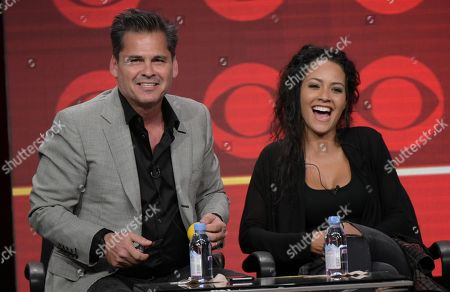 """Stock Picture of Executive producer Peter Lenkov, left, and Tristin Mays participate in the """"MacGyver"""" panel during the CBS Television Critics Association summer press tour, in Beverly Hills, Calif"""