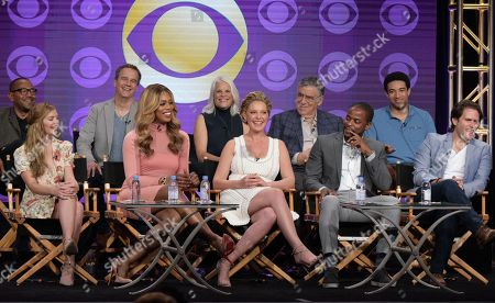 "Stock Picture of Executive producers Carl Beverly, from back row left, Tony Phelan, Joan Rater, actors Elliott Gould, Kobi Libii, and from front row left, Dreama Walker, Laverne Cox, Katherine Heigl, Dule Hill and Steven Pasquale participate in the ""Doubt"" panel during the CBS Television Critics Association summer press tour, in Beverly Hills, Calif"