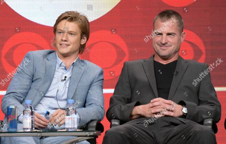 """Lucas Till, left, and George Eads participate in the """"MacGyver"""" panel during the CBS Television Critics Association summer press tour, in Beverly Hills, Calif"""