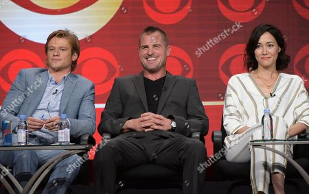 "Lucas Till, from left, George Eads and Sandrine Holt participate in Pop Network's ""MacGyver"" panel during the CBS Television Critics Association summer press tour, in Beverly Hills, Calif"