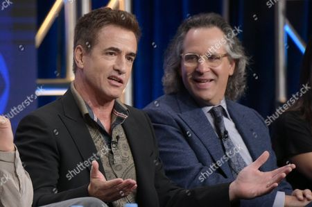 """Dermot Mulroney, left, and executive producer Jason Katims participate in the """"Pure Genius"""" panel during the CBS Television Critics Association summer press tour, in Beverly Hills, Calif"""