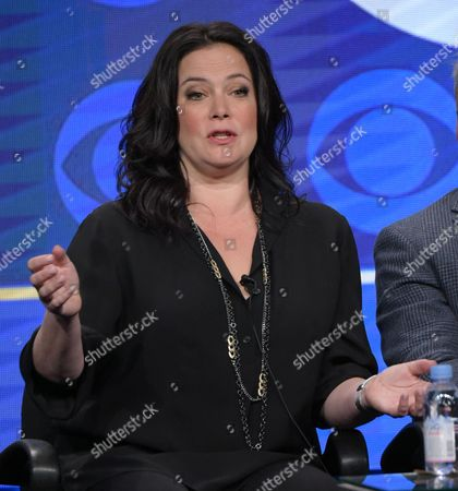 """Liza Snyder participates in the """"Man With A Plan"""" panel during the CBS Television Critics Association summer press tour, in Beverly Hills, Calif"""