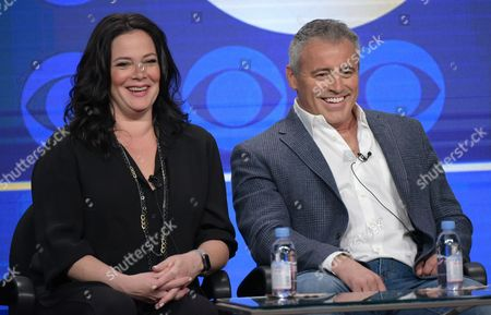 """Liza Snyder, left, and actor/executive producer Matt LeBlanc participate in the """"Man With A Plan"""" panel during the CBS Television Critics Association summer press tour, in Beverly Hills, Calif"""