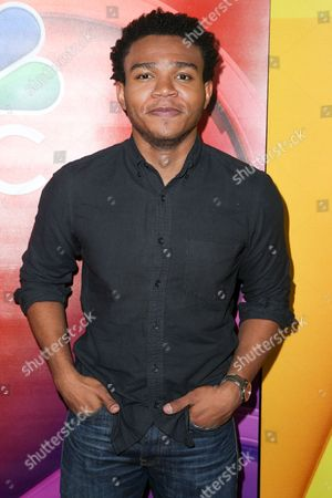 """Robert Bailey Jr., a cast member in the television series """"The Night Shift,"""" arrives at the NBCUniversal Television Critics Association summer press tour, in Beverly Hills, Calif"""