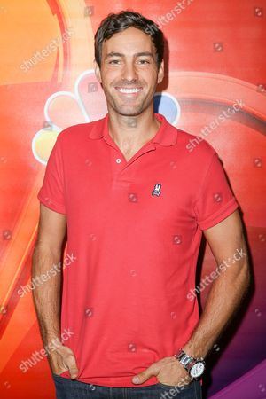"""Jeff Dye, a cast member in the television series """"Better Late Than Never,"""" arrives at the NBCUniversal Television Critics Association summer press tour, in Beverly Hills, Calif"""