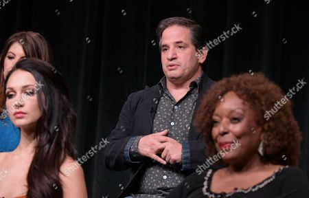 "Hannah James, from left, executive producer David Zabel and L. Scott Caldwell participate in the ""Mercy Street"" season two panel during the PBS Television Critics Association summer press tour, in Beverly Hills, Calif"