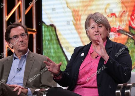 "Executive-in-charge Stephen Segaller, left, and author Bernadette Murphy participate in ""Secrets of The Dead's"" ""Van Gogh's Ear"" panel during the PBS Television Critics Association summer press tour, in Beverly Hills, Calif"