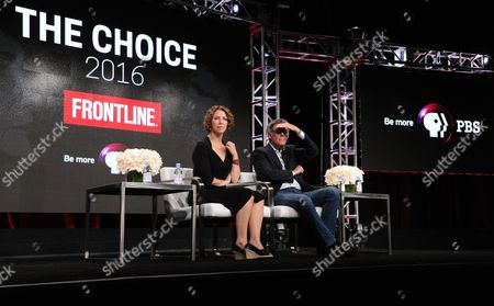 "Executive Producer Raney Aronson-Rath, left, and filmmaker Michael Kirk participate in Frontline's ""The Choice"" panel during the PBS Television Critics Association summer press tour, in Beverly Hills, Calif"