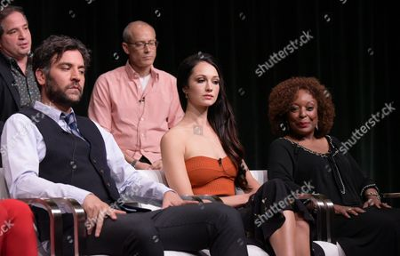 "Josh Radnor, from left, Hannah James and L. Scott Caldwell participate in the ""Mercy Street"" season two panel during the PBS Television Critics Association summer press tour, in Beverly Hills, Calif"