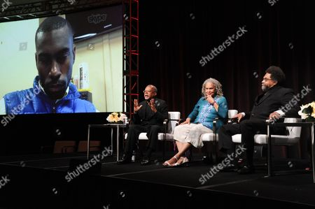 "Stock Image of DeRay Mckesson via Skype, from left, Henry Louis Gates Jr., Charlayne Hunter-Gault and Dr. Cornel West participate in the ""Black America Since MLK: And Still I Rise"" panel during the PBS Television Critics Association summer press tour, in Beverly Hills, Calif"