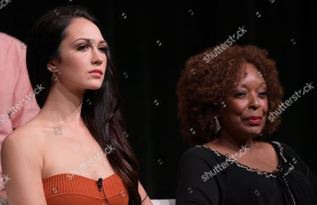 "Hannah James, left, and L. Scott Caldwell participate in the ""Mercy Street"" season two panel during the PBS Television Critics Association summer press tour, in Beverly Hills, Calif"
