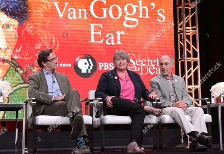 "Stephen Seagaller Executive-in-charge Stephen Segaller, from left, author Bernadette Murphy and retired staff member of The Bancroft Library at the University of California, David Kessler participate in ""Secrets of The Dead's"" ""Van Gogh's Ear"" panel during the PBS Television Critics Association summer press tour, in Beverly Hills, Calif"