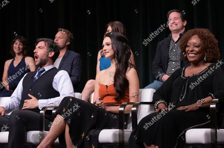 "Executive producer Lisa Wolfinger, from left, Josh Radnor, Norbert Leo Butz, Hannah James, executive producer David Zabel and L. Scott Caldwell participate in the ""Mercy Street"" season two panel during the PBS Television Critics Association summer press tour, in Beverly Hills, Calif"