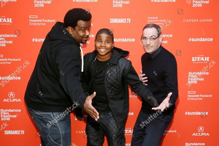 """Actors Craig Robinson, from left, Markees Christmas and writer and director Chad Hartigan pose at the premiere of """"Morris From America"""" during the 2016 Sundance Film Festival, in Park City, Utah"""