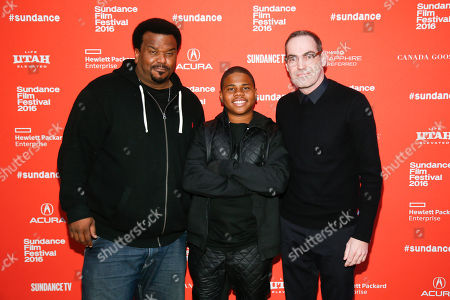 "Actors Craig Robinson, left, Markees Christmas, center, and writer and director Chad Hartigan, right, pose at the premiere of ""Morris From America"" during the 2016 Sundance Film Festival, in Park City, Utah"