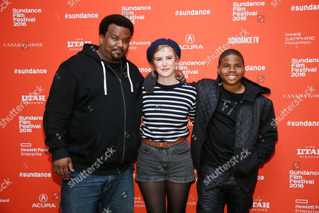 "Actors Craig Robinson, left, Carla Juri, center, and Markees Christmas, right, pose at the premiere of ""Morris From America"" during the 2016 Sundance Film Festival, in Park City, Utah"