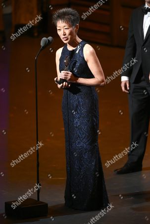 Stock Photo of National Endowment for the Arts Chairman, Jane Chu, speaks onstage at the Tony Awards at the Beacon Theatre, in New York