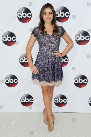 Angelique Rivera arrives at the ABC Television Group All-Star Cocktail Reception, in Pasadena, Calif