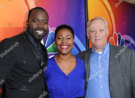 Demetrius Grosse, from left, Deidrie Henry and Conor O'Farrell arrive at the NBCUniversal Winter TCA at the Langham Huntington Hotel & Spa, in Pasadena, Calif