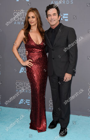 Lisa Ann Russell, left, and Jeff Probst arrive at the 21st annual Critics' Choice Awards at the Barker Hangar, in Santa Monica, Calif