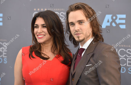 Lisa Vultaggio, left, and Jonathan Jackson arrive at the 21st annual Critics' Choice Awards at the Barker Hangar, in Santa Monica, Calif