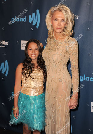 Jazz Jennings, left, and Lauren Foster arrive at the 24th Annual GLAAD Media Awards at the JW Marriott on in Los Angeles