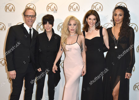 Kirby Dick, from left, Diane Warren, Lady Gaga, Amy Ziering and Kamilah Willingham pose backstage at the 27th annual Producers Guild Awards at the Hyatt Regency Century Plaza, in Los Angeles