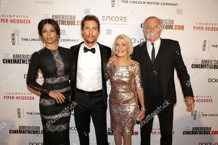Stock Picture of Camila Alves, Matthew McConaughey, Kay McConaughey and C.J. Carlig seen at the 28th Annual American Cinematheque Awards Honoring Matthew McConaughey held at The Beverly Hilton, in Beverly Hills