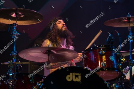 Musician Tommy Clufetos performs on stage at the 2nd Annual Heroes Helping Heroes Benefit Concert at The House of Blues on in Los Angeles