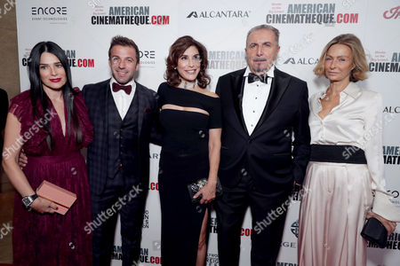 Sonia Amoruso, Alessandro Del Piero, Jo Champa, Andrea Boragno, Chairman and CEO of Alcantara S.p.A., and guest seen at 30th Annual American Cinematheque Award Honoring Ridley Scott at The Beverly Hilton, in Beverly Hills, CA