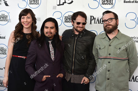 "Nikki Monninger, from left, Christopher Guanlao, Brian Aubert, and Joe Lester of the musical group ""Silversun Pickups"" arrives at the 30th Film Independent Spirit Awards, in Santa Monica, Calif"