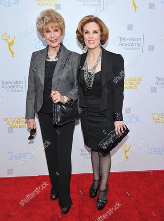 Karen Sharpe, left, and Kat Kramer arrive at the 37th College Television Awards at the Skirball Cultural Center, in Los Angeles