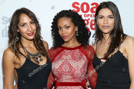 Christel Khalil, left, Mishael Morgan, center, and Sofia Pernas arrive at the 40th Anniversary of Soap Opera Digest at The Argyle Hollywood, in Los Angeles